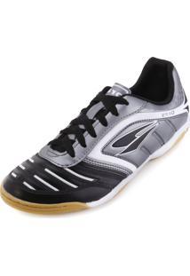 8a50105ed7 Chuteira Futsal Dray Topfly Iv Juvenil Dr18-363Co Chumbo-Preto