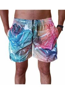 Bermuda Short Moda Praia Relaxado Estampa Folha Colorida - Azul - Masculino - Poliã©Ster - Dafiti