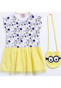 Vestido Infantil Estrelas Tule Brinde Bolsa Minion