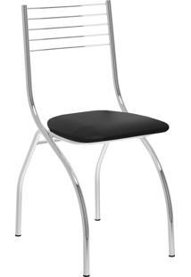 Kit 2 Cadeiras 146 Napa Cromado Móveis Carraro Preto