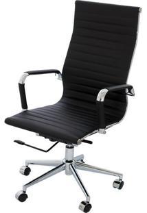Cadeira Eames Alta Preta Base Cromada - 14692 - Sun House