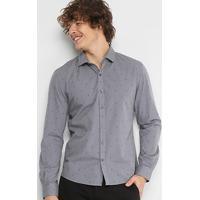 3fae31a554 Camisa Slim Em Jacquard Ellus Estampada Manga Longa Masculina -  Masculino-Cinza
