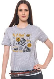 Camiseta Feminina Joss - Fast Food - Feminino-Mescla