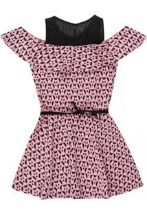 Vestido Amora Manga Curta Rosa