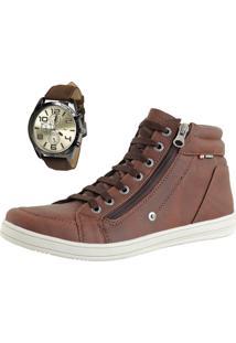 Bota Casual Cr Shoes Com Relógio Café