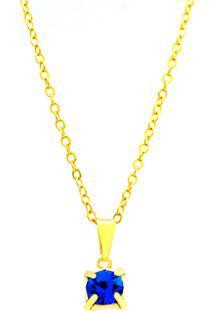 Gargantilha Horus Import Ponto Luz Banhado Ouro Amarelo 18 K - 1060160 - Azul Safira