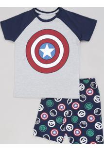 Pijama Infantil Capitão América Os Vingadores Raglan Manga Curta Cinza Mescla