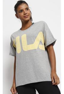 Camiseta Casual Fila® - Cinza & Amarelafila