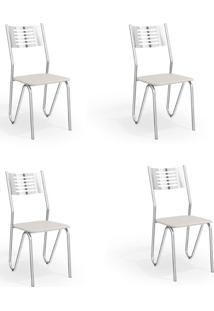 Conjunto Com 4 Cadeiras De Cozinha Napoles Cromado E Branco