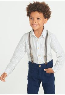 Camisa Listrada Menino Fio Tinto Com Bolso