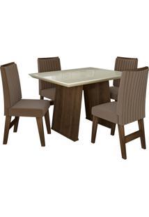 Conjunto De Mesa Para Sala De Jantar Com Tampo De Vidro E 4 Cadeiras Vigo -Dobuê Movelaria - Castanho / Branco Off / Castor Bord