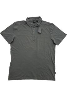 Polo Hugo Boss Masculina Regular-Fit Long Staple Cotton Grafite