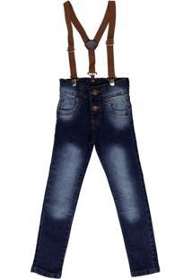 Calça Jeans Com Suspensório Infantil Para Menino - Azul