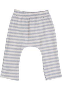 Calça Moletom Listrada Blühen Menino Branco E Azul Claro