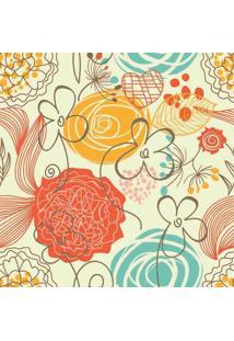 Papel De Parede Adesivo Floral Retrô (0,58M X 2,50M)