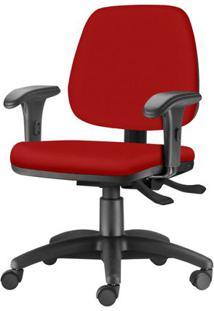 Cadeira Job Com Bracos Curvados Assento Courino Vermelho Base Rodizio Metalico Preto - 54618 Sun House