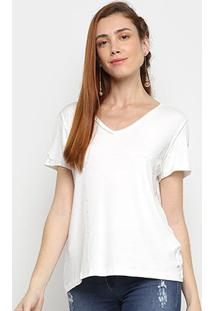 Camiseta Mob Gola V Feminina - Feminino-Off White