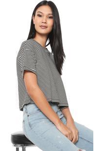Camiseta Cropped Cantão Listrada Off-White/Preta