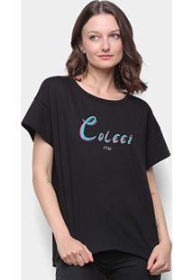 Camiseta Colcci Ampla Feminina - Feminino-Preto