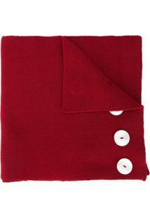 0711 Cachecol Com Aplicação De Botões - Vermelho