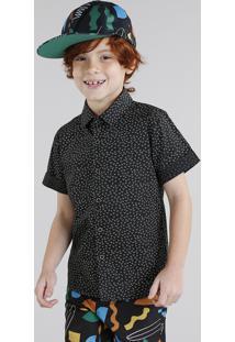 Camisa Infantil Bento Estampada Mini Print Geométrica Manga Curta Preta