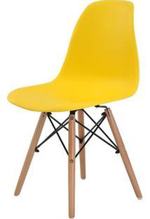 Cadeira Eames Eiffel Polipropileno Amarela Base Madeira - 44156 Sun House
