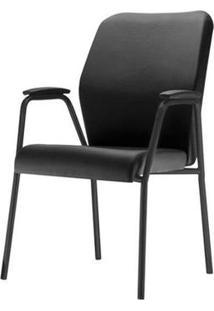 Cadeira Pointer Premium Assento Courino Base Fixa Preta - 54846 - Sun House