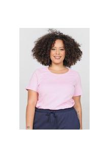 Camiseta Basicamente. Plus Size Lisa Rosa