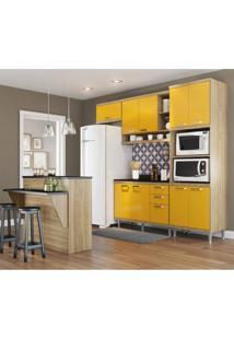 Cozinha Completa Com Bancada E Balcão Com Tampo 6 Peças 7 Prateleiras Sicília Multimóveis Argila/Amarelo