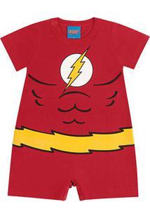 Body Banho De Sol Bebê Kamylus Liga Da Justiça - Masculino-Vermelho