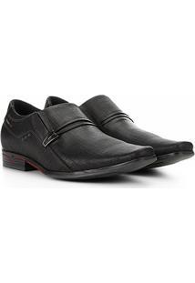 Sapato Social Couro Pegada Fivela Masculino - Masculino-Preto