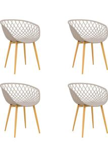 Conjunto Com 4 Cadeiras Clarice Nude