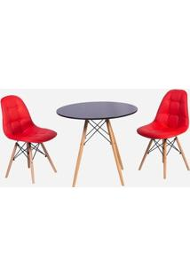 Conjunto Mesa Eiffel Preta 90Cm + 2 Cadeiras Dkr Charles Eames Wood Estofada Botonê - Vermelha