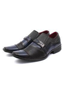 Sapato Social Leve Renovally Preto E Azul