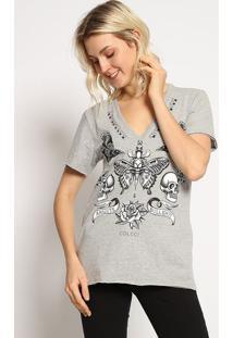 """Camiseta """"Borboleta"""" - Cinza & Preta - Colccicolcci"""