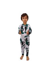 Pijama Infantil Macacão Hulk Menino 100% Algodão Branco