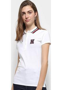 Camisa Polo Tommy Hilfiger Thea Global Tipping Feminina - Feminino-Branco