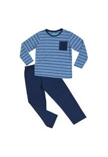 Pijama Infantil Longo Algodão Menino Jokenpô Azul