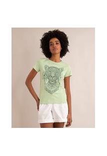 Camiseta De Algodão Leoa Tatto Manga Curta Decote Redondo Verde Claro