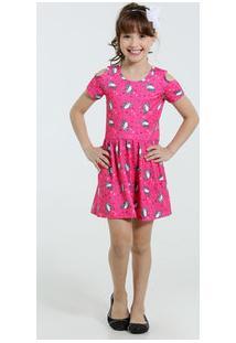 Vestido Infantil Manga Curta Unicórnio Marisa