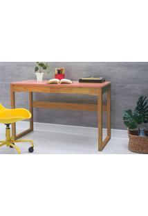 Escrivaninha Para Escritório Olga 121X51,3X75 Cm - Acabamento Verniz Nózes E Tampo Rosa Coral