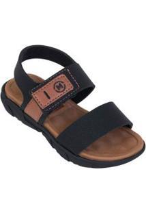 Sandália Molekinho Preta Com Velcro