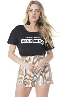 Camiseta Estampada Serinah Brand Rock Star Preta