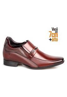 Sapato Social Couro Rafarillo Masculino Elástico Salto 7Cm Mogno