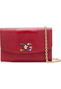 Dolce   Gabbana Bolsa Carteira De Couro Com Logo - Vermelho 0d7b815410