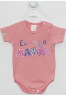 Body Bebê Manga Curta Mamãe - Feminino-Salmão