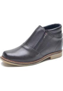 Bota Garra Calçados Ziper Lisa Masculina - Masculino-Preto