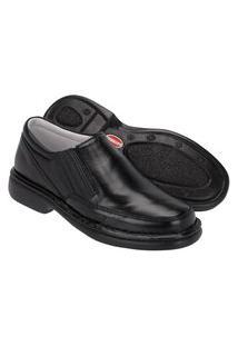 Sapato Em Couro Caparellu'S Masculino Dia Dia Conforto Preto
