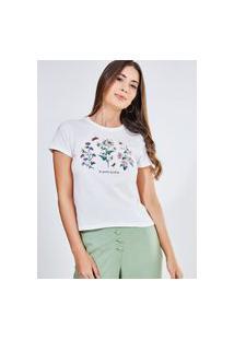 Camiseta Estampa Flores E Borboletas