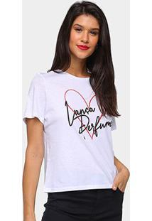 Camiseta Lança Perfume Coração Feminina - Feminino-Branco